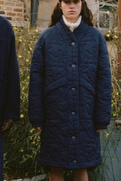 YMC Erkin Coat, Navy Quilted