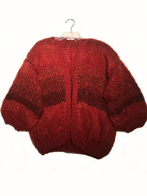 Maiami Tweed Melange Big Cardigan, rusty red with wine