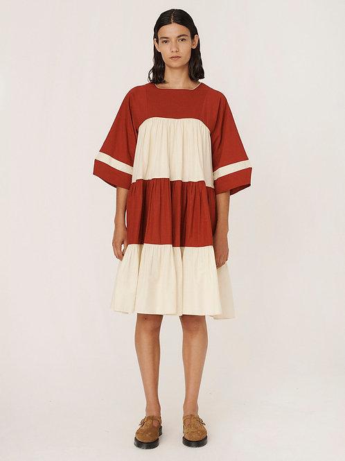 YMC, New Paloma Cotton Dress, Red Ecru