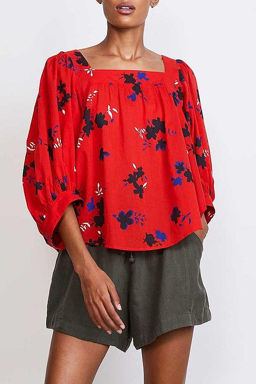 Apiece Apart, Zinnia Top, Red Aster Floral