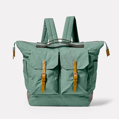 Ally Capellino, Frank Large Waxed Cotton Backpack, Green