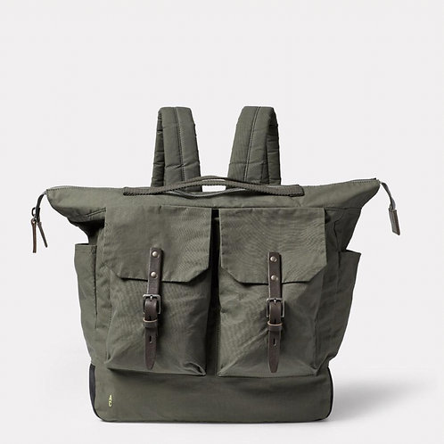 Ally Capellino Frank Large Waxed Cotton Backpack, Army Green