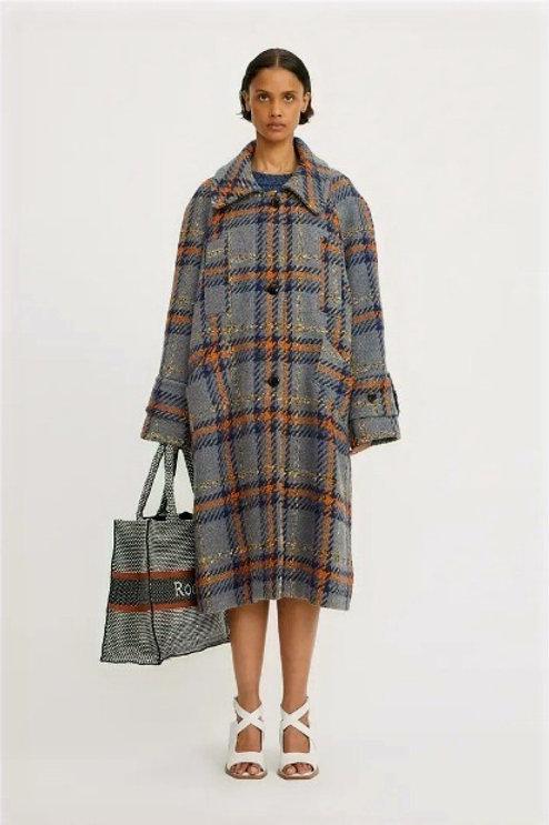 Rodebjer Lonore Coat, grey Multi Check