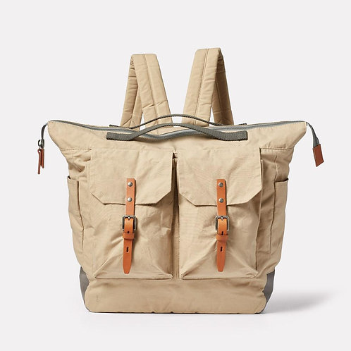 Ally Capellino, Frank Large Waxed Cotton Backpack, Putty