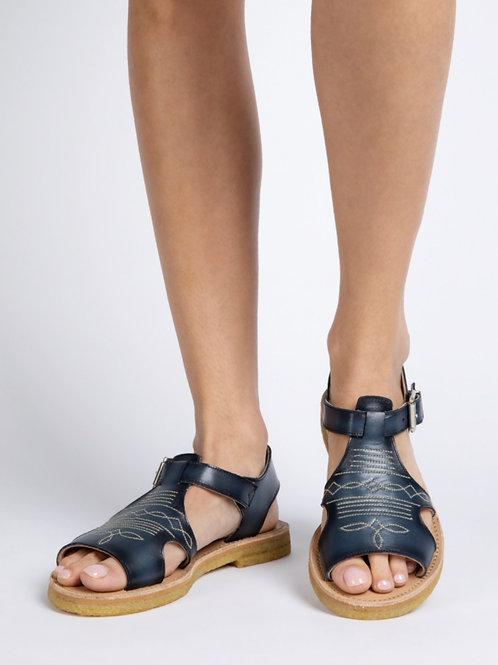 Penelope Chilvers, Amaya Caramelo Leather Sandal, Navy