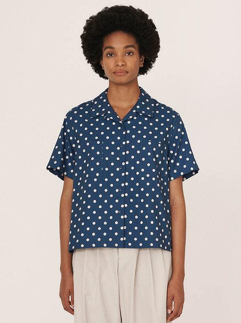 YMC, Vegas Rayon Cotton Shirt, Blue Ecru
