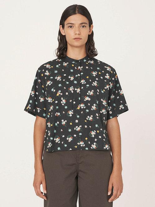 YMC, Cotton Floral Seersucker Shirt, Black