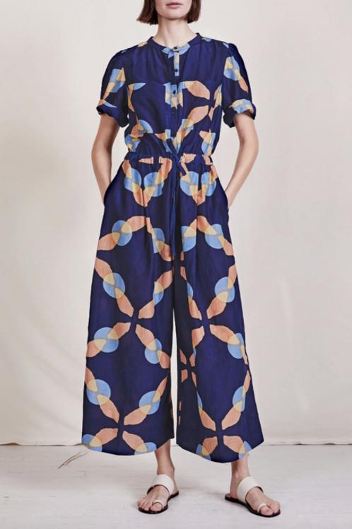 Apiece Apart, Ensanada Drawstring Jumpsuit, Shibori geo floral