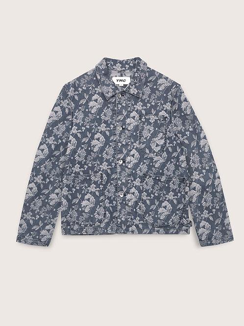 YMC, Chore Jacket, Indigo Denim Floral Jaquard