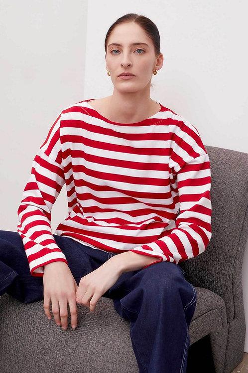 Kowtow Breton Sweater, red stripe