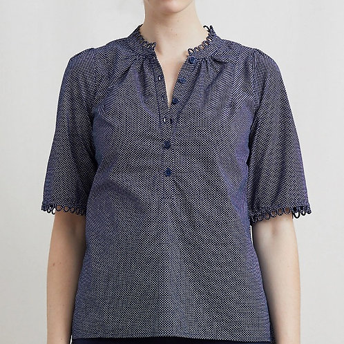 Apiece Apart Alta Top, navy mini polka dot