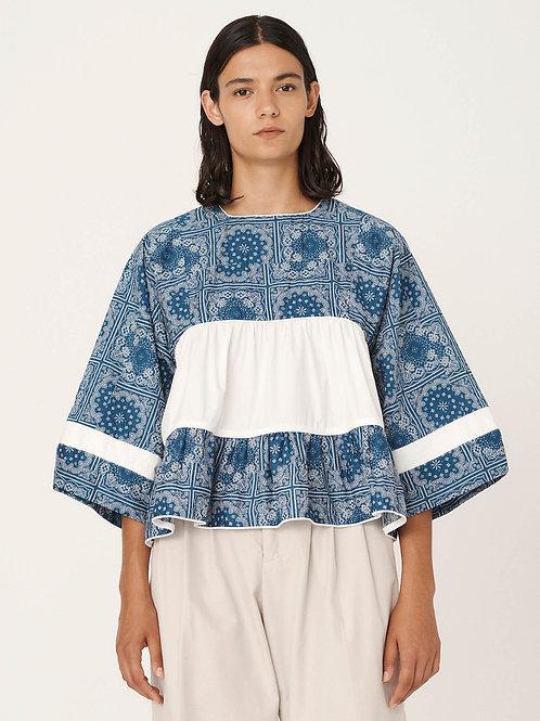 YMC, Dove Organic Cotton Bandana Print Shirt, Blue White