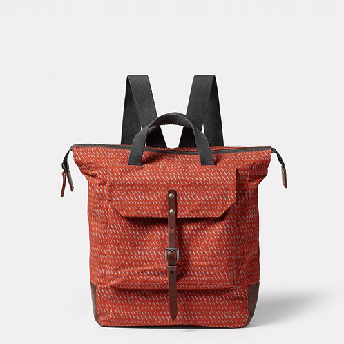 Ally Capellino Frances Waxed Cotton Print Backpack, Rust