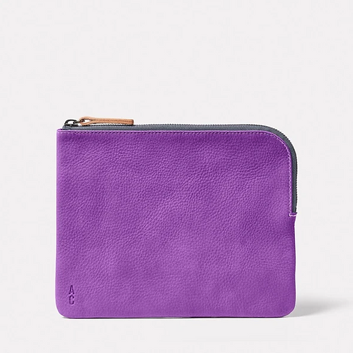 Ally Capellino Large Hocker, leather pouch in viola
