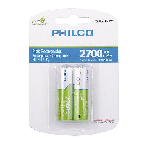 Blister 2 Pilas Philco Recargables AA 2700 Mah