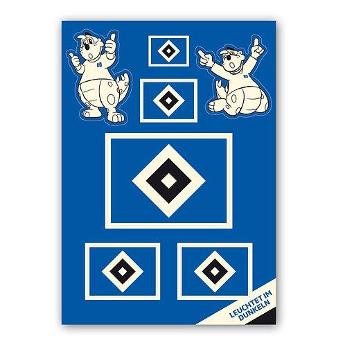 HSV Aufkleberkarte Nachtleuchtend