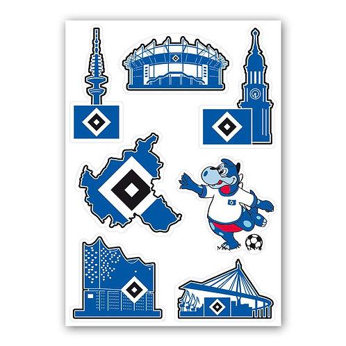 HSV Aufkleberkarte Hamburg