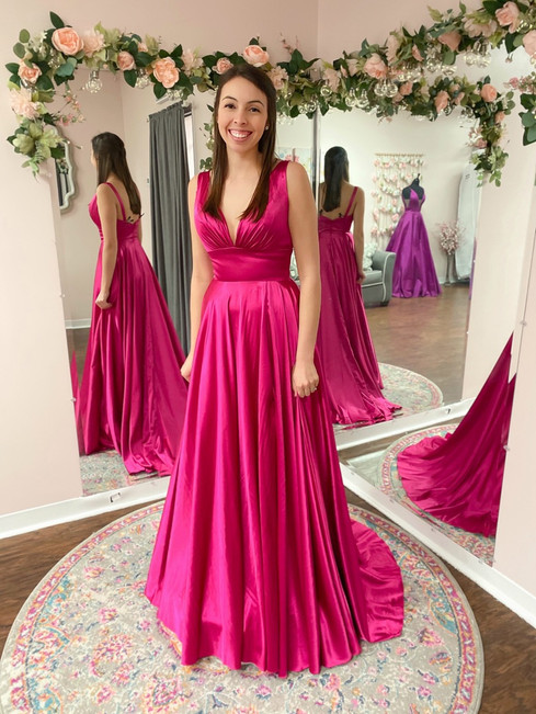 Hot pink, a-line gown