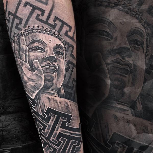 black and grey realism tattoo buddha geometric pattern