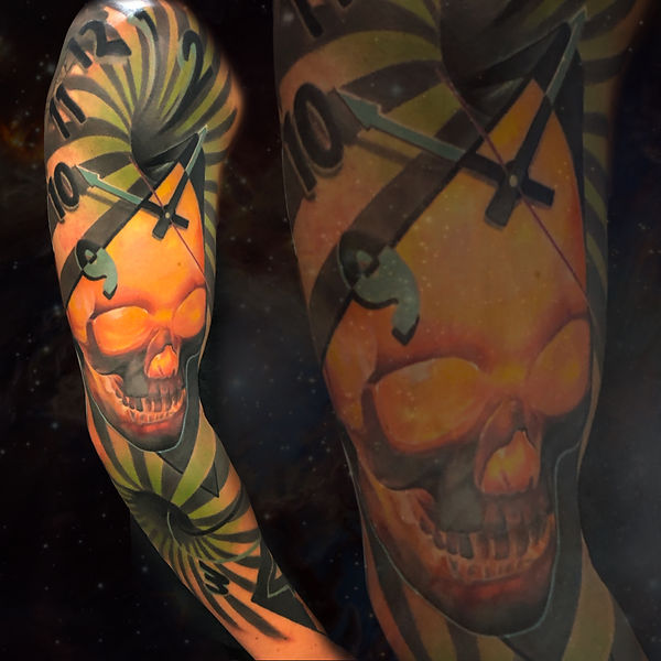 color surrealism tattoo trippy arm sleeve clock with skull