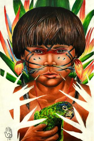 yanomami child parrot.jpg