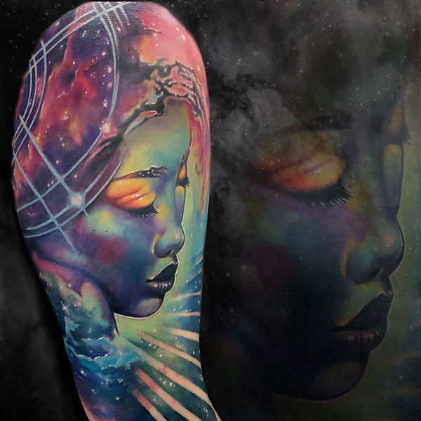 color surrealism arm sleeve ethereal woman in space