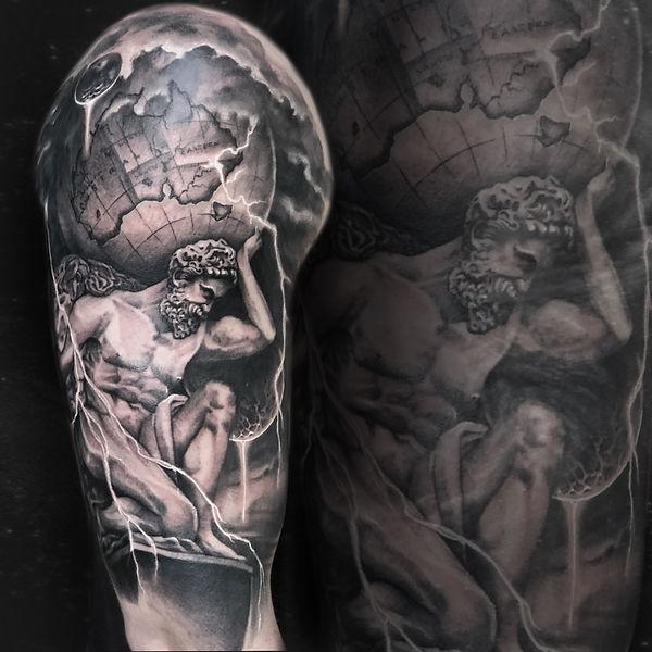 black and grey realism tattoo Atlas globe