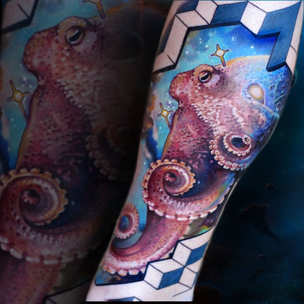color realism tattoo octopus in space with geometry