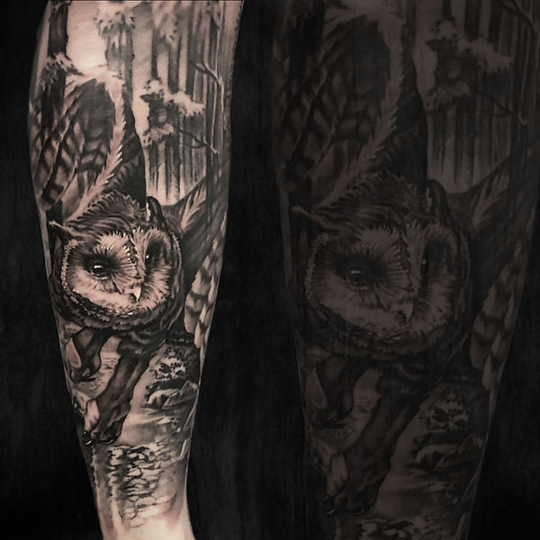black and grey realism tattoo arm sleeve with owl in woods