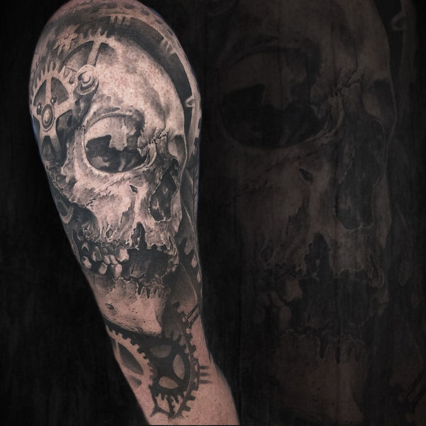 black and grey realism arm sleeve skull clock with gears