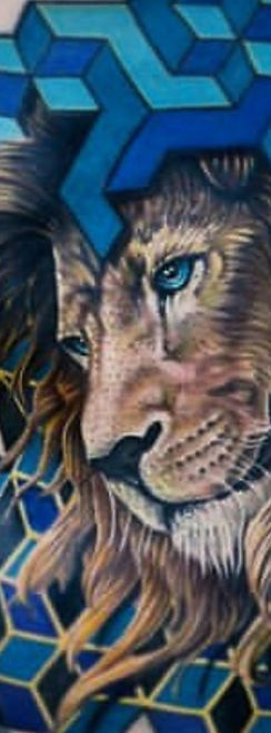 color realism tattoo lion with geometry