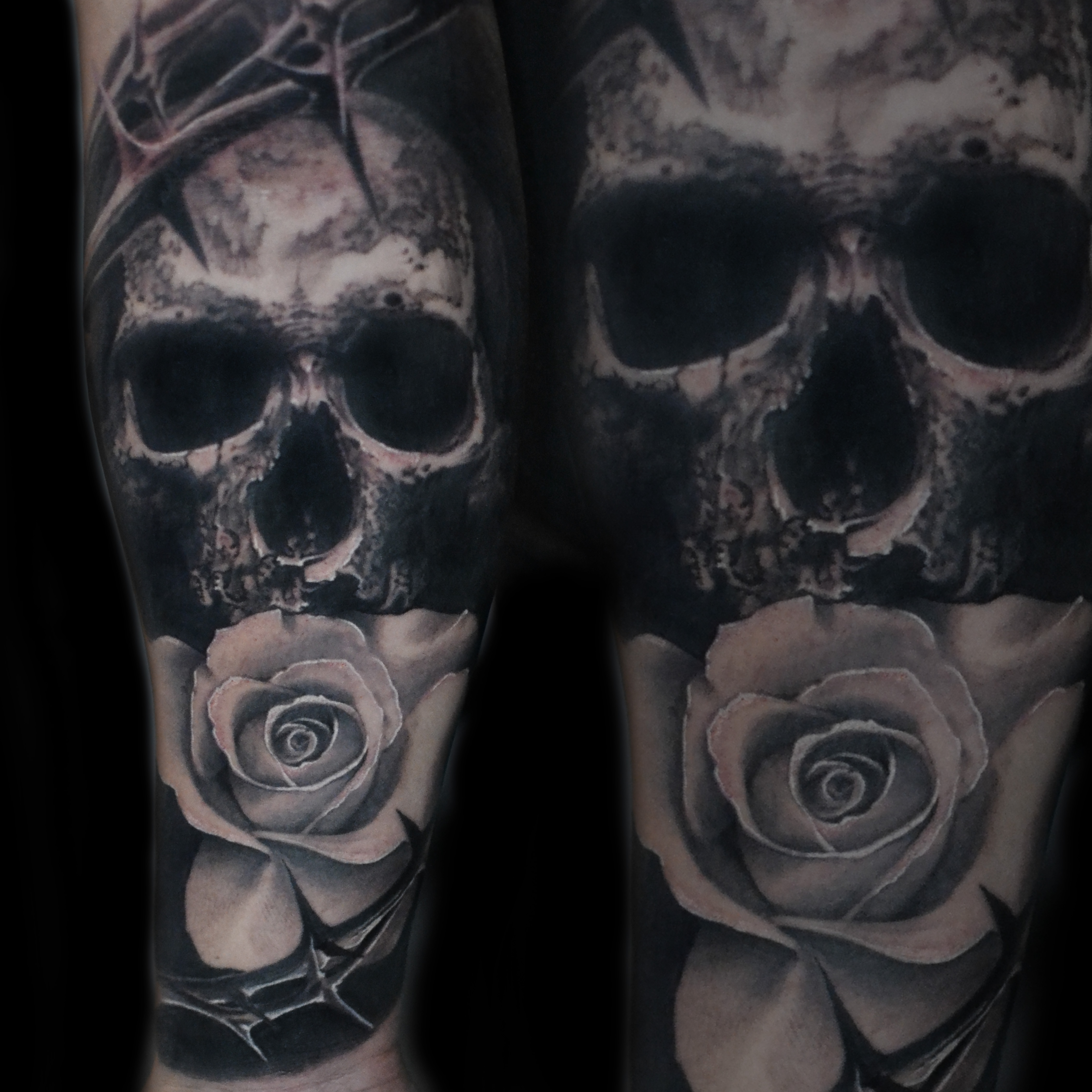 skull rose thorns black