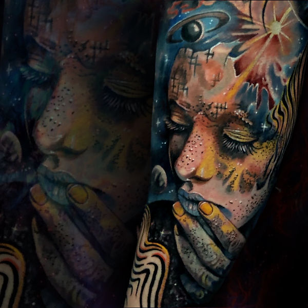 color tattoo realism surrealism trippy space goddess