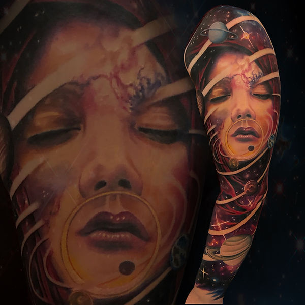 color surrelism tattoo arm sleeve space womans face