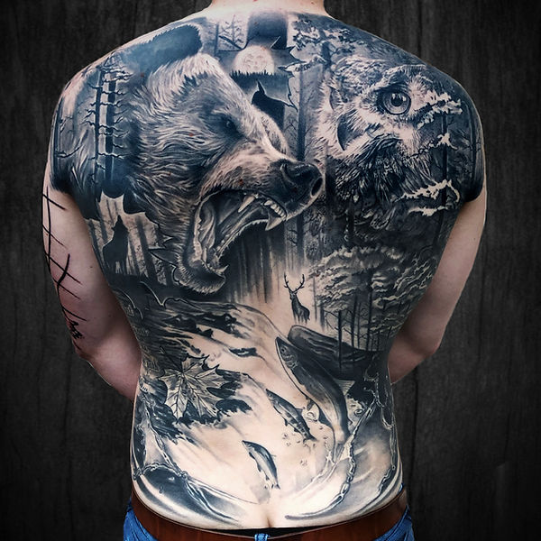 black and grey realism tattoo back piece with nature and animals