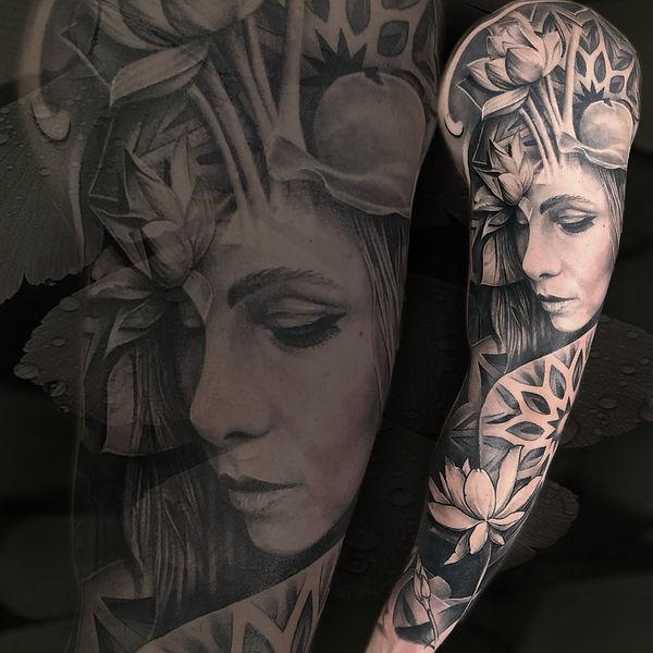 black and grey mixed style surrealism realism geometric mandala nature woman