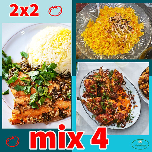 MIX 4: x2 & x2 from the main dishes tray of 4 servings