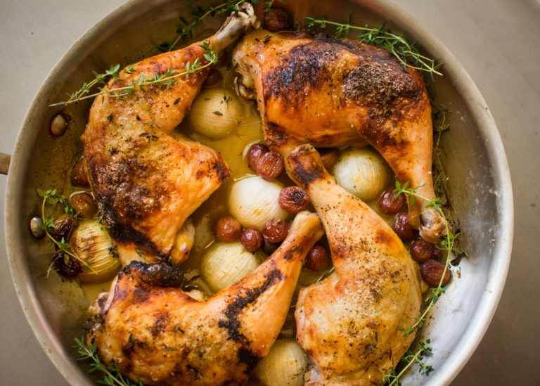 Honey Chicken with Grapes and Onions