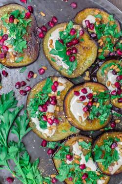Eggplants with Tahini and Pomengranates
