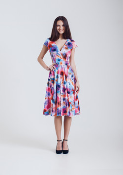 Fashion Model in Flowery Dress