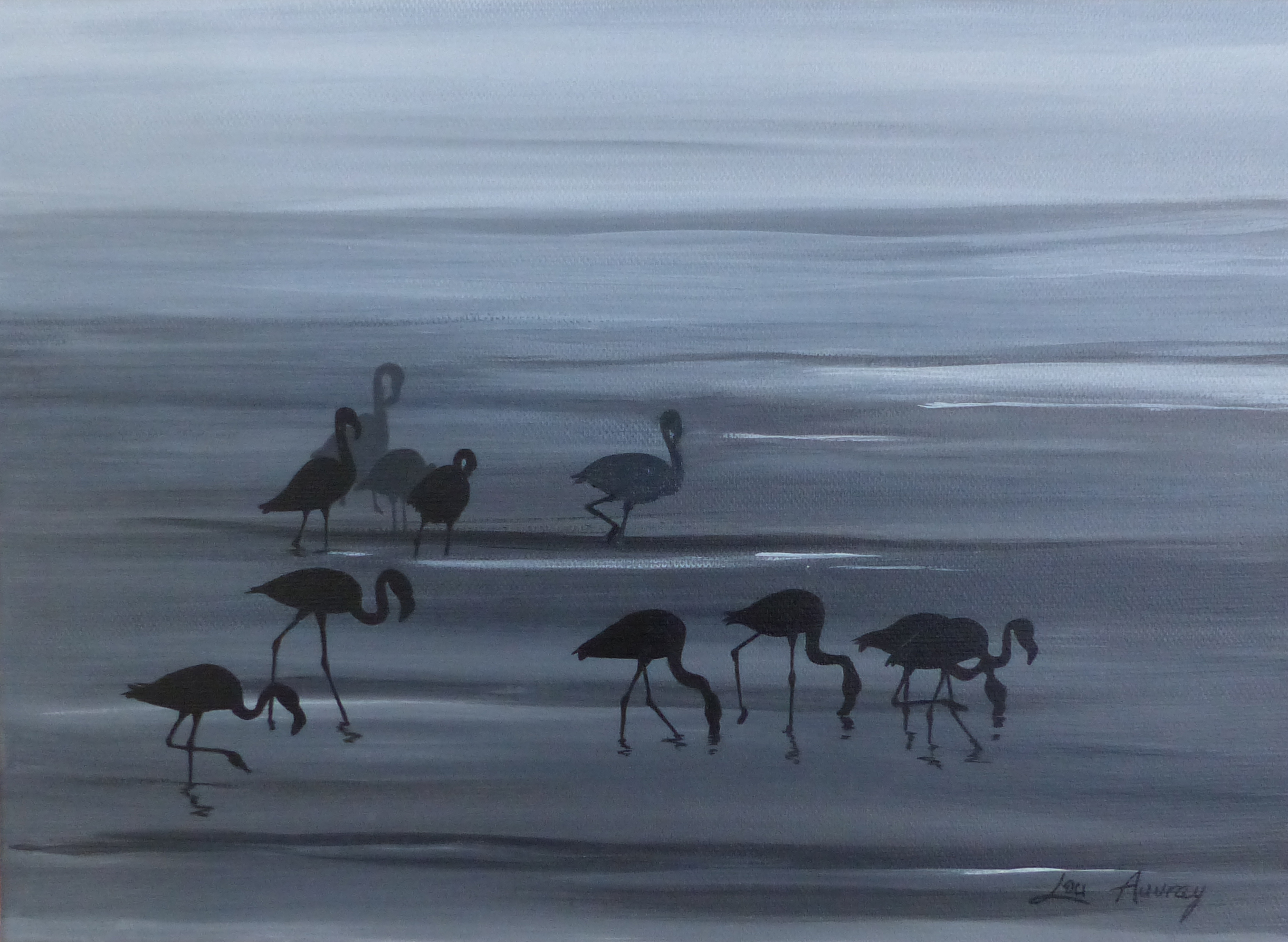 Flamants-Acrylique