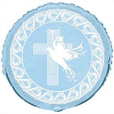 "Balloon Foil 18"" Dove/Cross Blue"