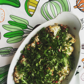 Roasted Cauliflower with Herb & Pomegranate Salad