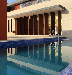 pool with pivot doors