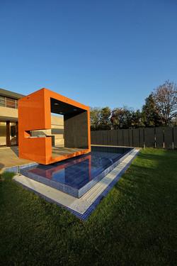 gazebo with reflective pool