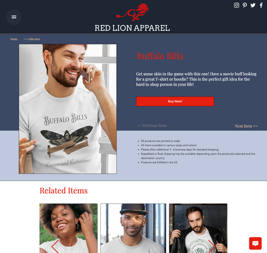 Red Lion Apparel Product Page