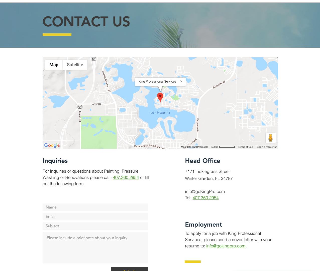 GoKingPro.com Contact Page