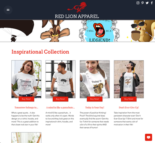 Red Lion Apparel Collections Page