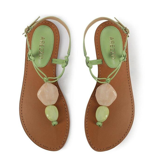 Sandália Salto Rasteiro Couros/Verde