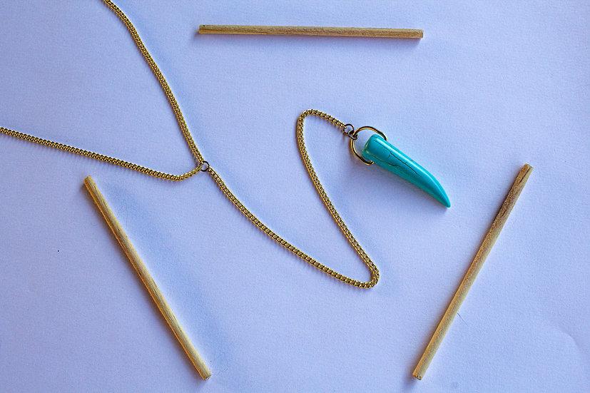 Gravata Dourada Dente Azul